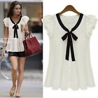 Europe New Fashion Fancy Girl Ruffle Sleeves Bow Tie Tops Shirt Blouse S M L XL