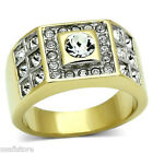 Mens 5MM April Center Crystal 18Kt GP Two Tone Stainless Steel Ring