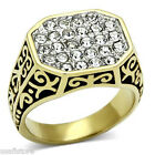 Mens Multi Crystal Pave Filigree Design Gold Plated Stainless Steel Ring