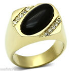 Mens Genuine Black Oval Onyx Gold EP Stainless Steel Ring
