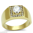 Mens 0.85ct Round Shape Stone Gold Plated Stainless Steel Ring