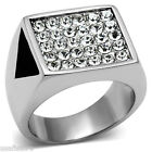 Mens Top Bling Crystal Pave Silver Stainless Steel Ring