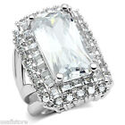 Ladies Large Rectangle Shape 10x20 MM CZ Stone White Gold Plated Ring