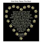 GOD ONLY TAKES THE BEST Pet Memorial Engraved Poem Plate Dog Cat Any Pet