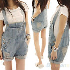 Girl Women Demin Hole Washed Jeans Casual Romper Uppper Overall Short Pants BD4U