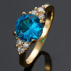 Schmuck Jewelry 7 Colors Yellow Gold Plated Wedding Engagement Ring Size 6/7/8