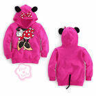 NWT Toddler Girls Hoodie Coat Kids Minnie Mouse Bow T Shirt Costume Tail 2T - 6