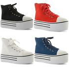 New Ladies Casual Lace Up Hi Top Flatforms Baseball Trainers Shoes Size UK 3-8