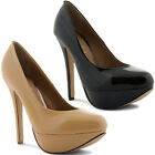 New Ladies High Stiletto Heel Patent Classic Slip On Court Shoes Size UK 3-8