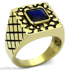 Square Cut Montana Blue Stone Gold EP Mens Stainless Steel Ring