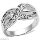 Ladies Clear CZ Crossing Pave White Gold EP Infinity Ring Size 5 and 9