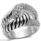 Ladies CZ Pawe With Ribbed Holding Silver White Gold EP Ring