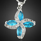 Wedding Jewelry Marquise Cut White Gold Plated Pendant Necklace