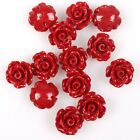 40/200pcs Hotsale Pure Colour Camellia Flower Charms Faux Coral Spacer Beads 8mm