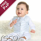 Baby Boys White and Blue 4pc Wedding Christening Chequered Waistcoat Suit