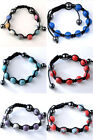 Howlite Synthetic Turquoise Disco Hip Hop Ball Beads Bracelet Adjustable Jewelry