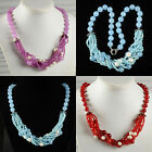 """12mm Faceted red agate dyed white marble pearl beaded necklace 24"""" to 25"""""""