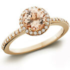7/8ct Morganite & Diamond Halo Engagement Ring 14K Rose Gold