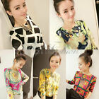 Korea Retro Summer Spring Round Collar Womens Chic Tee Chiffon Shirt Blouse Tops