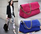 Womens Real Suede Leather with Clutch Chain Strap Shoulder Bag Satchel Handbag