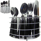 NEW 24PC CUTLERY DINNER SET DRAINER STAND RACK FORKS TEASPOONS TEA SPOONS METAL