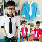 Toddler Kids Boys Long Sleeve Dress Shirt W/ Solid Necktie Tie Set Top Size 3-8Y