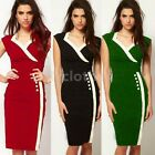 Womens Pencil Evening Button Pinup Bodycon Fitted Party Sheath Mini Dress D682