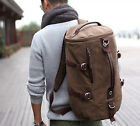 Men's Vintage Canvas Leather Hiking Travel Backpack Military Messenger Tote Bag