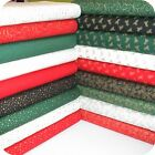 Christmas - Xmas Fabric FAT QUARTER Gold Stars, Holly etc on Red, Green & Cream