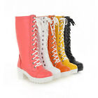 Fashion Knee high laces up platform Med Heel Winter Warm Boots women Shoes H308
