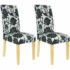 2/4/6/8 FLORAL MATERIAL DINING CHAIRS WOODEN OAK EFFECT TABLE FABRIC FLOWERY