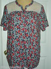 Serenada® for Catherine's Floral Print Button Down Sleep Top w  Lace Trim U Pick