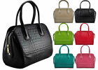 Ladies Patent Alligator Print Celebrity Style Women Shoulder Bag Satchel Handbag