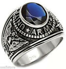 Mens Montana Blue US Army Military Silver Stainless Steel Ring