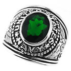Mens Emerald Green US Navy Military Silver Rhodium Plated Ring