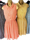 Shikka London Sz 8 10 12 Bow Print Shirt Dress Coral Aqua Navy or Mustard