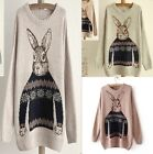 Women's Fashion Rabbit Animal Loose Knitted Pullover Sweater Outwear 3 Colors