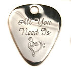 "Engraved S/Steel 1.2mm ""All You Need"" Guitar Plectrum Pick, Chain, Personalised"