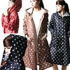 3 Col Women Dot Pocket Thin Outdoor Showerproof Outerwear Cover Rain Coat Hiking