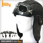 ililily New Faux Leather Trapper Trooper Hat with Goggles Bomber Earflap Cap 403