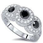 1.50CT Vintage Black Diamond 3-Stone Engagement 14k White Gold Ring Antique New