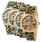 Geneva Sexy Womens Leisure Girls Leopard Jelly Silicone Quartz Wristwatch BD4U