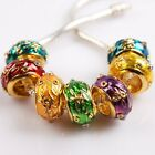 Clear Rhinestones Dots Enamel Charms Gold Tone Alloy Beads For Europe Bracelet