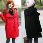 Classic Single Breasted Hooded Womens Trench Coat Outwear Overcoat Pocket Solid