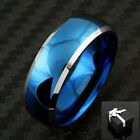 Tungsten Men's Blue Domed with Beveled Silver Edges Band Ring Size 5-15