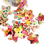 Mixed Colorful Star Shaped Painted 2 Hole Wooden Buttons HG-0496