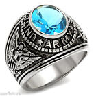 Mens US Army Light Sapphire Blue Stone Military Stainless Steel Ring