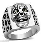 Mens Happy Skull Crystal Eyes Silver Stainless Steel Ring
