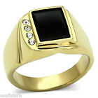 Jet Black Onyx Four Clear Crystal Gold EP Stainless Steel Mens Ring