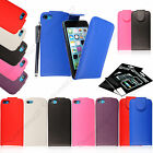 New PU Leather Magnetic Wallet Flip Plain Case Cover Pouch Fits + Guard + Stylus